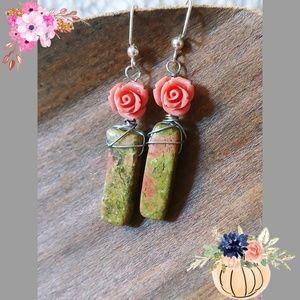Jewelry - Unakite stone earrings